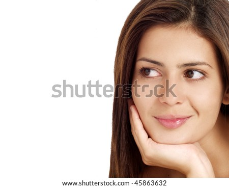 Portrait of a oung woman on white background. - stock photo
