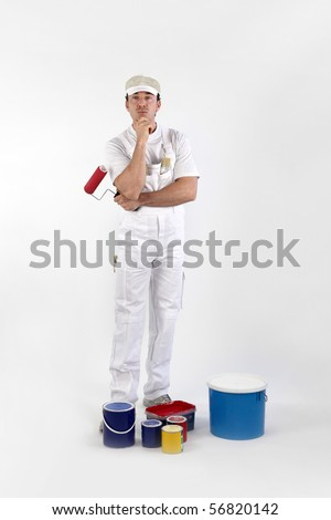 Portrait of a painter on white background - stock photo