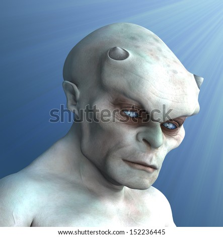 Portrait of a pale, ivory-colored demon in a pensive mood - 3D render with digital painting. - stock photo