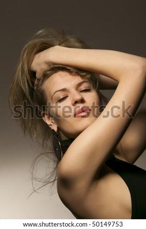Portrait of a passionate woman, desires a kiss - stock photo