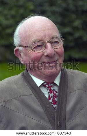 Portrait of a pensioner: 80 years old (color) - stock photo