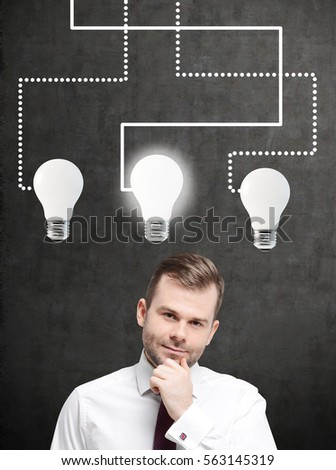 Portrait of a pensive bearded businessman standing near a blackboard with three large light bulbs drawn on it.