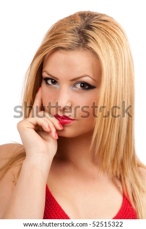 Portrait of a pensive blond lady isolated on white