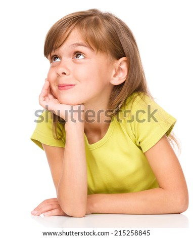 Portrait of a pensive little girl supporting her head with hand, isolated over white - stock photo