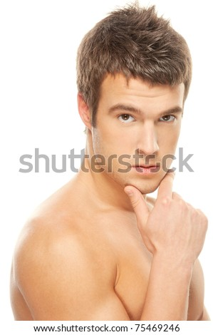 Portrait of a pensive male athlete muscular isolated on a white background - stock photo