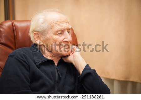 portrait of a pensive senior man thinking about his life - stock photo