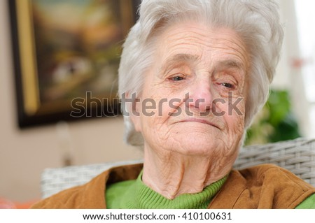 Portrait of a pensive senior woman