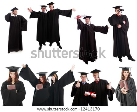Portrait of a people in a academic gown. Education background. - stock photo