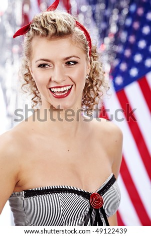 portrait of a pin-up woman - stock photo