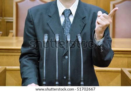 Portrait of a politician, political metaphors - stock photo