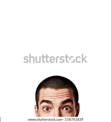 portrait of a pop-eyed man - stock photo