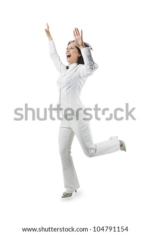 portrait of a positive pretty caucasian white woman with hands lifted expressing positivity isolated over white background