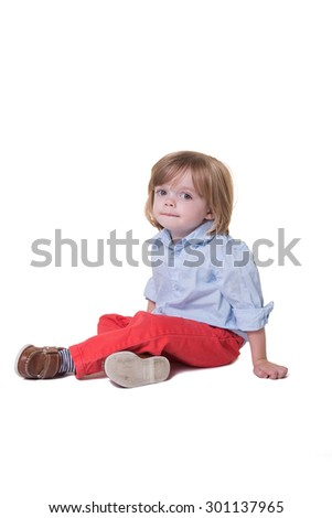 Portrait of a preschool toddler isolated - stock photo