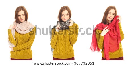 Portrait of a pretty blonde girl in scarf. Isolated over white - stock photo