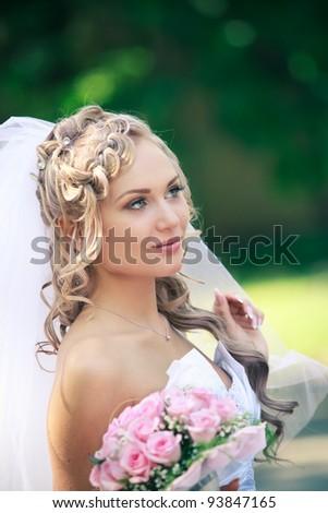 Portrait of a pretty bride - stock photo