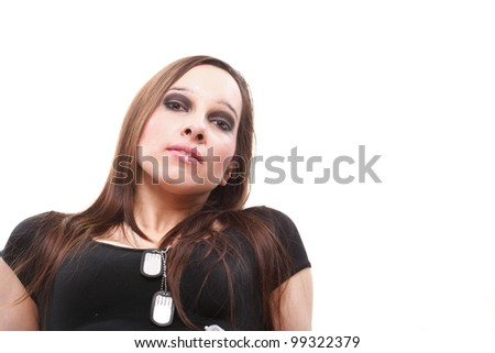 Portrait of a pretty brunette young woman isolated on white - stock photo