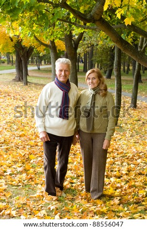 portrait of a pretty elderly couple posing at park