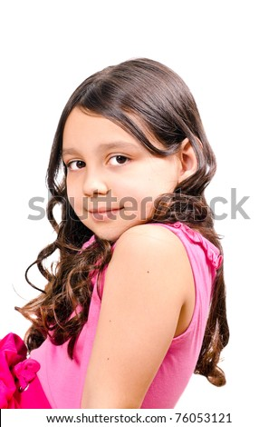 Portrait of a pretty girl on a white background