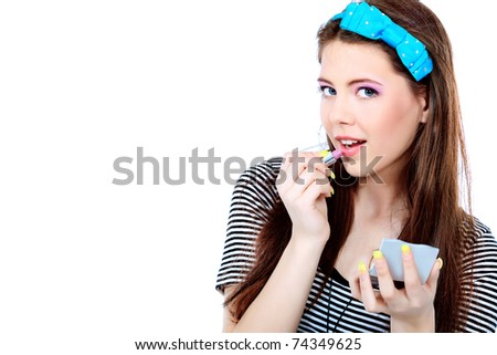 Portrait of a pretty girl teenager. Isolated over white background.