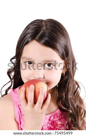 Portrait of a pretty girl with apple on a white background - stock photo