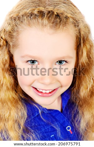 Portrait of a pretty joyful girl with a beautiful smile looking at camera. Isolated over white. - stock photo