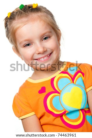 portrait of a pretty little girl over white - stock photo