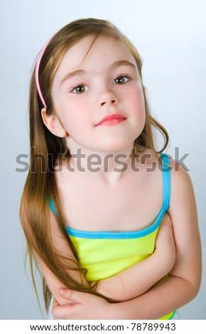 portrait of a pretty little girl over white - stock photo