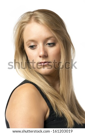 Portrait of a pretty sad blond girl, isolated on white background - stock photo