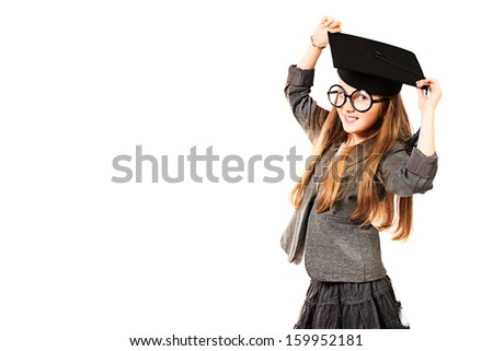 Portrait of a pretty ten years girl in big round spectacles and academic hat. Isolated over white. - stock photo