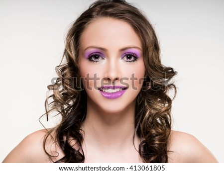 Portrait of a pretty woman with Extreme Makeup / Extreme Makeup - stock photo