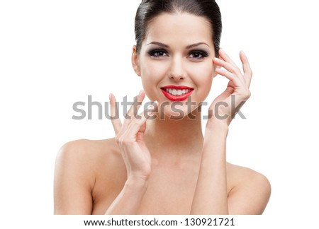 Portrait of a pretty woman with red lipstick, isolated on white