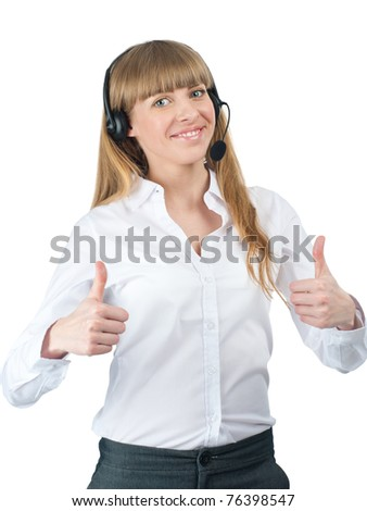 Portrait of a pretty young female call center employee wearing a headset showing thumbs up, against white background - stock photo