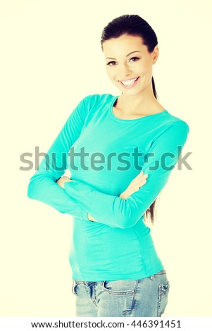 Portrait of a pretty young woman - stock photo