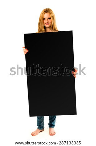 portrait of a pretty young woman holding a black banner with lots of space for your text against a perfect white studio background  - stock photo