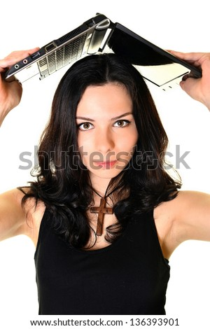 Portrait of a pretty young woman surfing the internet - stock photo