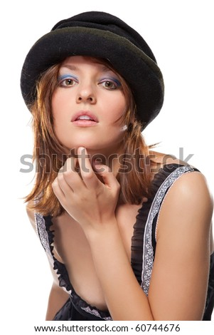 Portrait of a pretty young woman with black bonnet