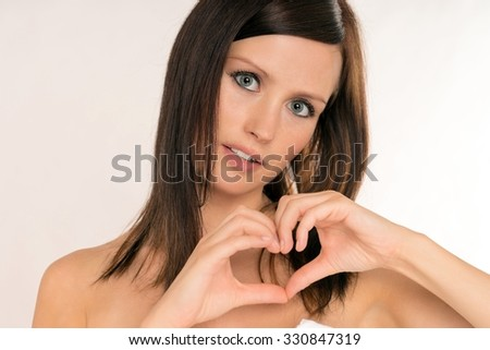 Portrait of a pretty young woman / Woman - stock photo