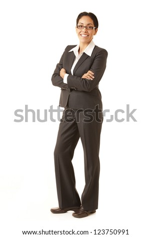 Portrait of a professional Hispanic business woman wearing a grey suit looking at camera isolated on white suit looking at camera isolated on white - stock photo