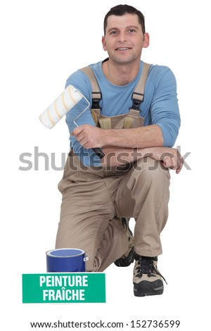 Portrait of a professional painter - stock photo