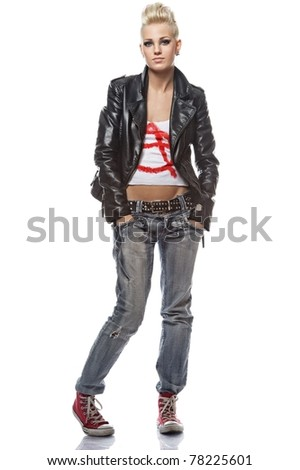 Portrait of a punk girl - stock photo