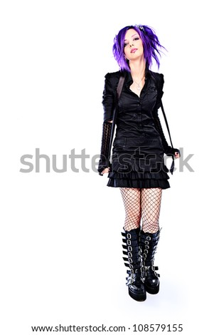 Portrait of a punk girl. Isolated over white background.