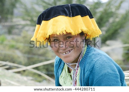 Portrait of a Quechua Indian woman from the Paru Paru Community, Andes Mountain. October 22, 2012 - Peru - stock photo