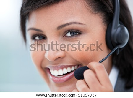 Portrait of a radiant customer service agent at work - stock photo