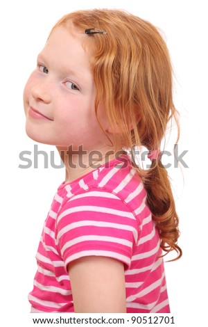Portrait of a red haired girl on white background