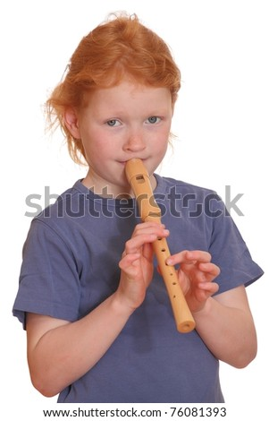Portrait of a red-haired girl playing flute