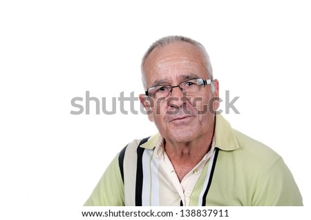Portrait of a retired old man - stock photo