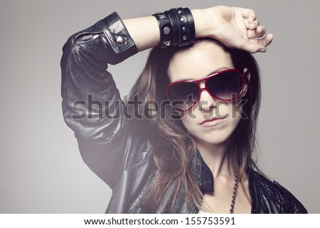 Portrait of a rock chick - stock photo