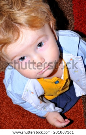 Portrait of a sad child  - stock photo