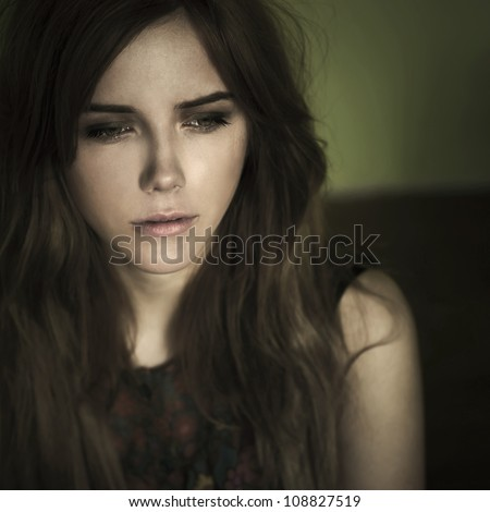 portrait of a sad girl - stock photo