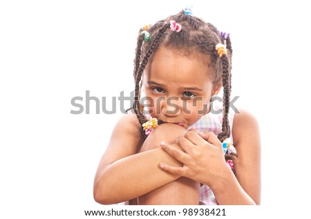 Portrait of a sad little girl-collection - stock photo
